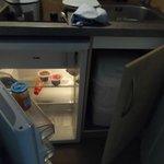 Fridge, sink, kettle, microwave, hob