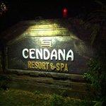 Resort entrance at night