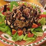 Tonno Toscano con Insalata Pomodori (pork carpaccio with salad – tomatoes, balsamic vinegar, oli