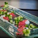Feta pearls and watermelon caviar at Notios