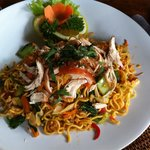 Bakmie Goreng with Chicken. Nicely flavored with a little spiciness.