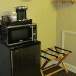 Fridge, microwave, coffee maker area
