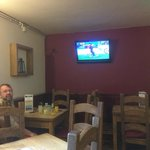 Football on the telly in the Walkers Bar