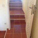 Steps up to bathroom and door