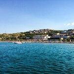 view of the resort from the boat headed to Spinalonga
