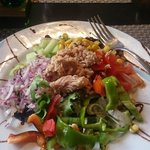 The Mixed Salad from the 9.95 euro set menu (Starter, main, drink, dessert and a shot)