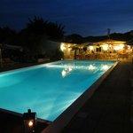 The beautiful pool at night.