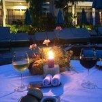Our last night dinner poolside table