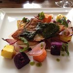 Catch of the day with sweet potatoes, red onions and curdled goats milk