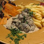 Chicken Livers in a creamy mustard sauce with Fries