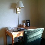 Room desk with coffee maker & tea bags