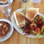 Grilled Ham and Swiss Cheese Sandwich, Phillip's Salad and a Touton