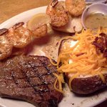 Sirloin Steak with Grilled Shrimp Combo & Baked Potato on the side