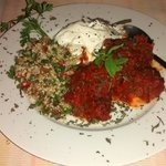 stewed meatballs with taboulé and yoghurt