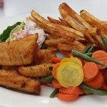 Fish and Chip platter w/ fries and steamed veggies