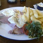 Ham, egg and chips.