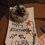 My surprise birthday cake from the hotel thanks to my other half, had to go on stage and had hap