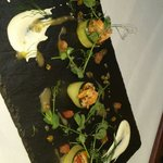 Smoked salmon cerivèi,cucumber with pea shoots lemon and dill cream frieche lemon verbina dressi