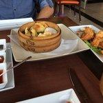 Dim sum and tempura prawns