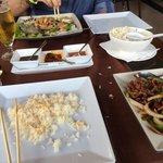 Crispy chilli beef and tempura black bean seabass