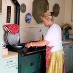 Heather cooking breakfast