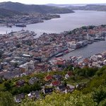 View of Bergen from lookout taking funicular railway