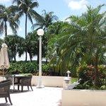 Área da piscina vista do restaurante
