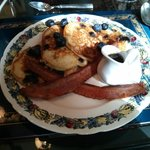 3rd course - Fluffy, rich, homemade blueberry pancakes, bacon & warm maple syrup