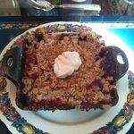 Fourth Course – Cast iron strawberry rhubarb crumble, topped with crème fraiche