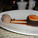 dessert, cool presentation of hot and cold
