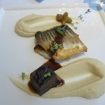 delectable branzino and veal cheek main course