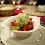 Fresh (seasonal) strawberries with house-made basil ice cream and a balsamic vinegar reduction.
