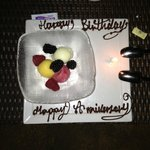 We celebrate my a birthday & anniversary on our annual trip. Loved this fab surprise dessert.