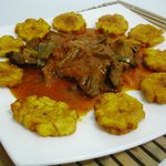 BEEF STEAK WITH FRIED GREEN PLANTAINS