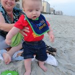 Touching the sand for the first time.