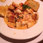 Pasta with crab, scallop and shrimp
