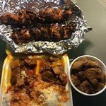 Goat, Pork Adobo and BBQ Chicken on a Stick