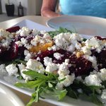 Colourful beetroot & feta salad.