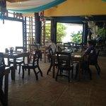 Indoor restaurant with beach view