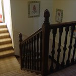 stairway with tartan carpet