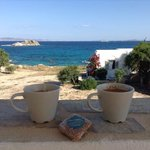 Enjoying our coffee at the balcony of Ydreos studios