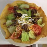 Taco salad your choice meat grilled chicken breast or carne asada ( grilled steak )