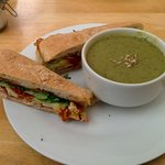 Pea and mint soup with club toasted ciabatta.