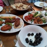 mixed meze and complimentary olives