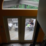view of screened porch from upper loft