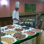 Dinner restaurant meat grill station