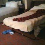 Red blanket belongs on queen bed.