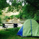 Our campsite right on Little Qualicum River