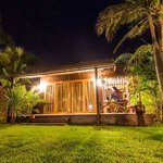 Our beachfront bungalow at night
