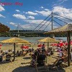 vista del ponte most Slobode e del Danubio dalla spiaggia